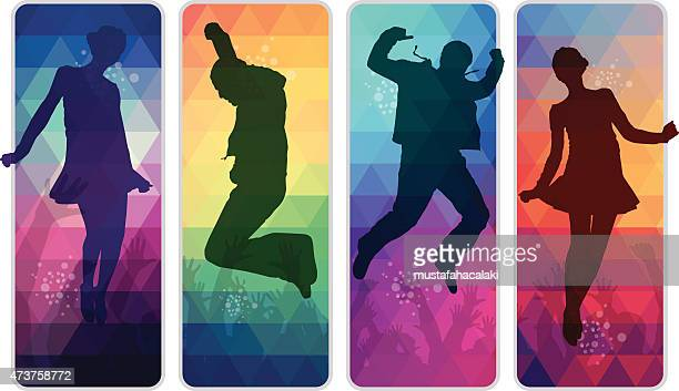 Dancing teenagers on colourful mosaic placards