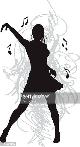 dancing woman - cumbia stock illustrations, clip art, cartoons, & icons