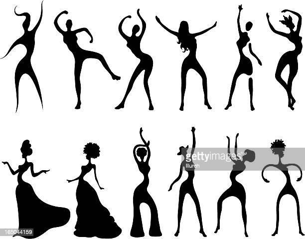 dancing women silhouettes