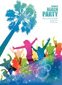 Dancing young people on the tropical beach. Party banner.