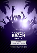 Dancing Young People Silhouettes on Summer Beach Party Flyer Template - Vector Design