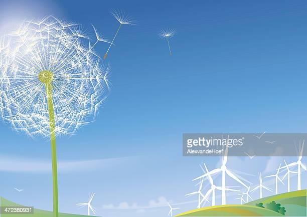 dandelion and windturbines - turbine stock illustrations