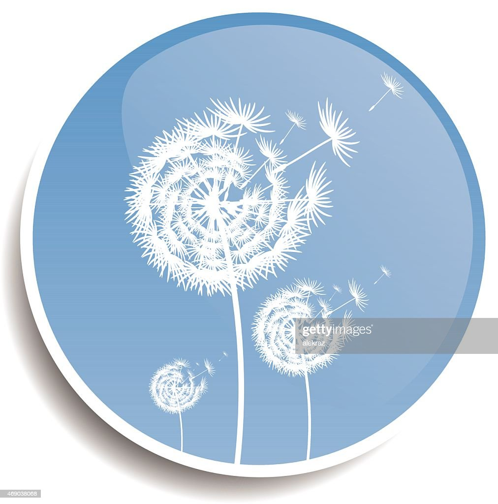 Dandelion blue button design illustration