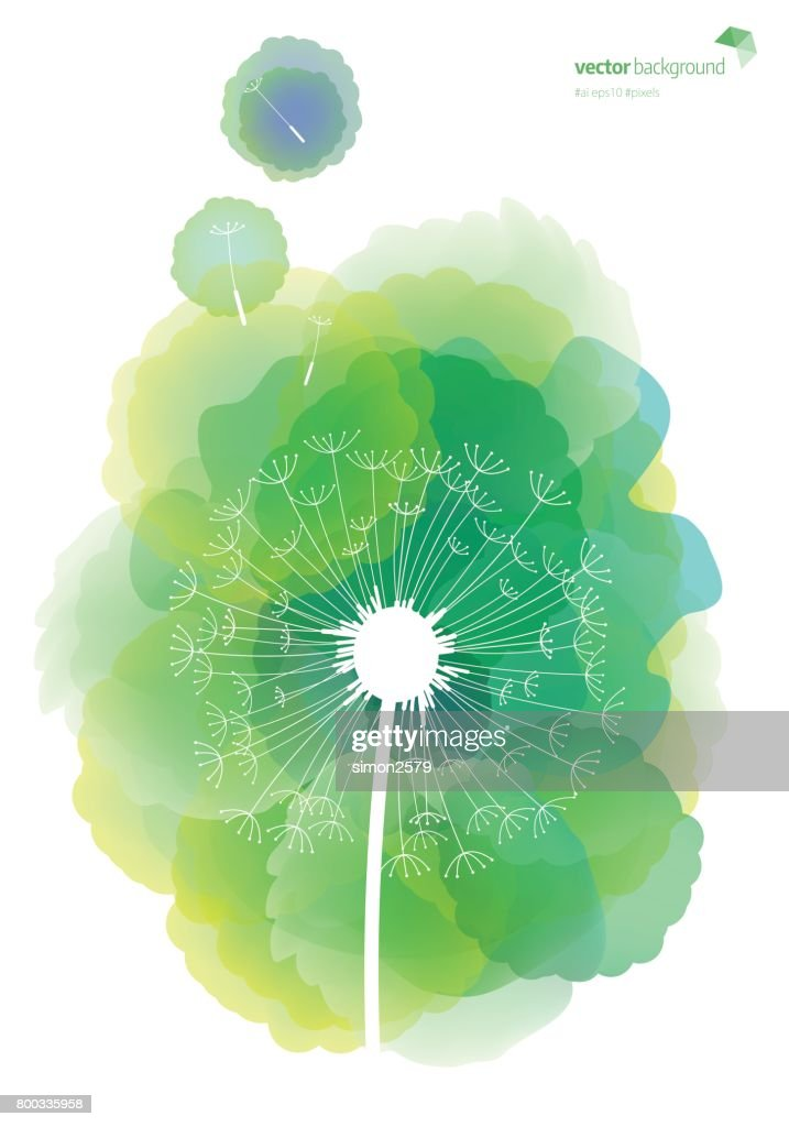 Dandelion pattern with watercolor textured background