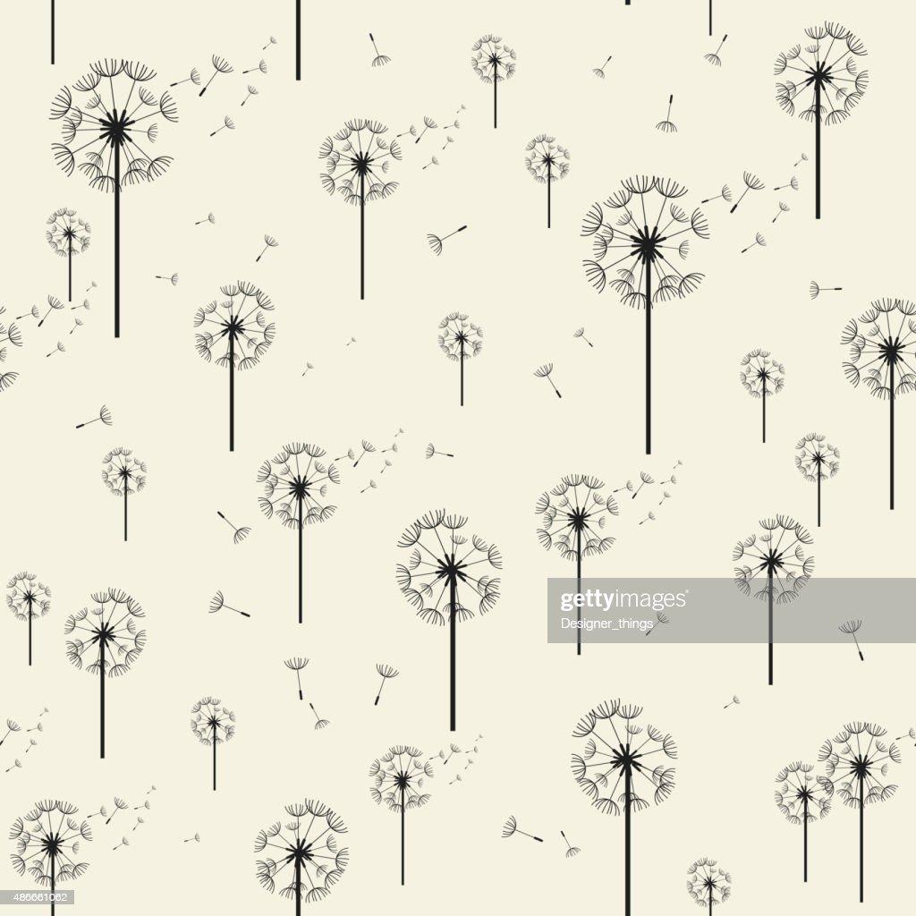 Dandelion Vector Seamless Pattern. Modern Stylish Texture