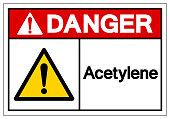 Danger Acetylene Symbol Sign, Vector Illustration, Isolate On White Background Label. EPS10