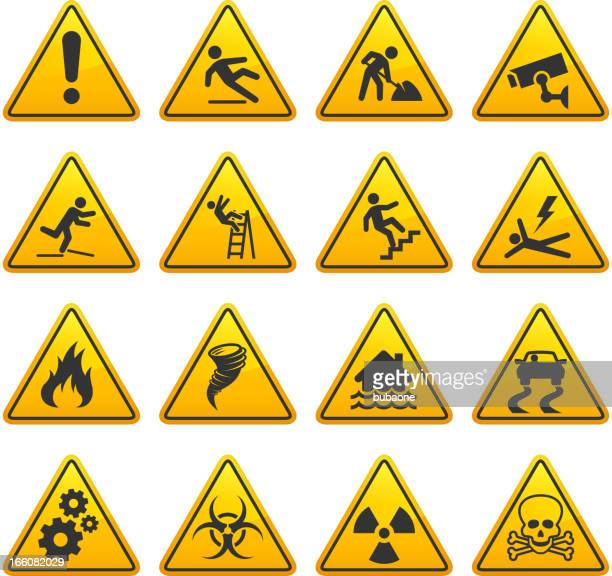 danger and caution street signs collection - security camera stock illustrations