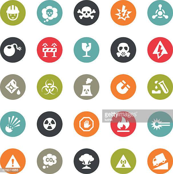 danger and destruction icons / ringico series - radioactive contamination stock illustrations