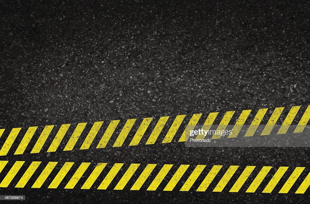 Danger arrows on asphalt texture. illustration vector