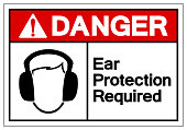 Danger Ear Protection Required Symbol Sign, Vector Illustration, Isolate On White Background Label. EPS10