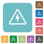 Danger electrical hazard rounded square flat icons