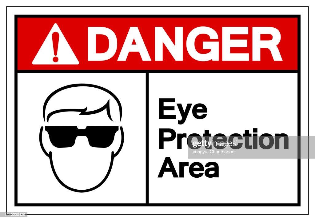 Danger Eye Protection Area Symbol Sign, Vector Illustration, Isolate On White Background Label. EPS10