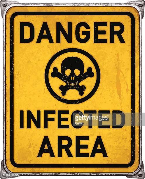 ilustraciones, imágenes clip art, dibujos animados e iconos de stock de peligro: área de infectado metal cartel con cráneo humano symbol_vector - cuarentena