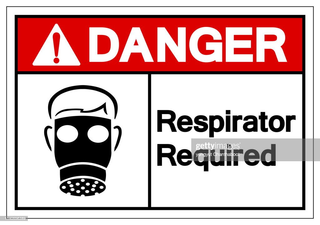 Danger Respirator Required Symbol Sign, Vector Illustration, Isolate On White Background Label. EPS10