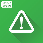 Danger sign icon. Business concept attention caution sign pictogram. Vector illustration on green background with long shadow.