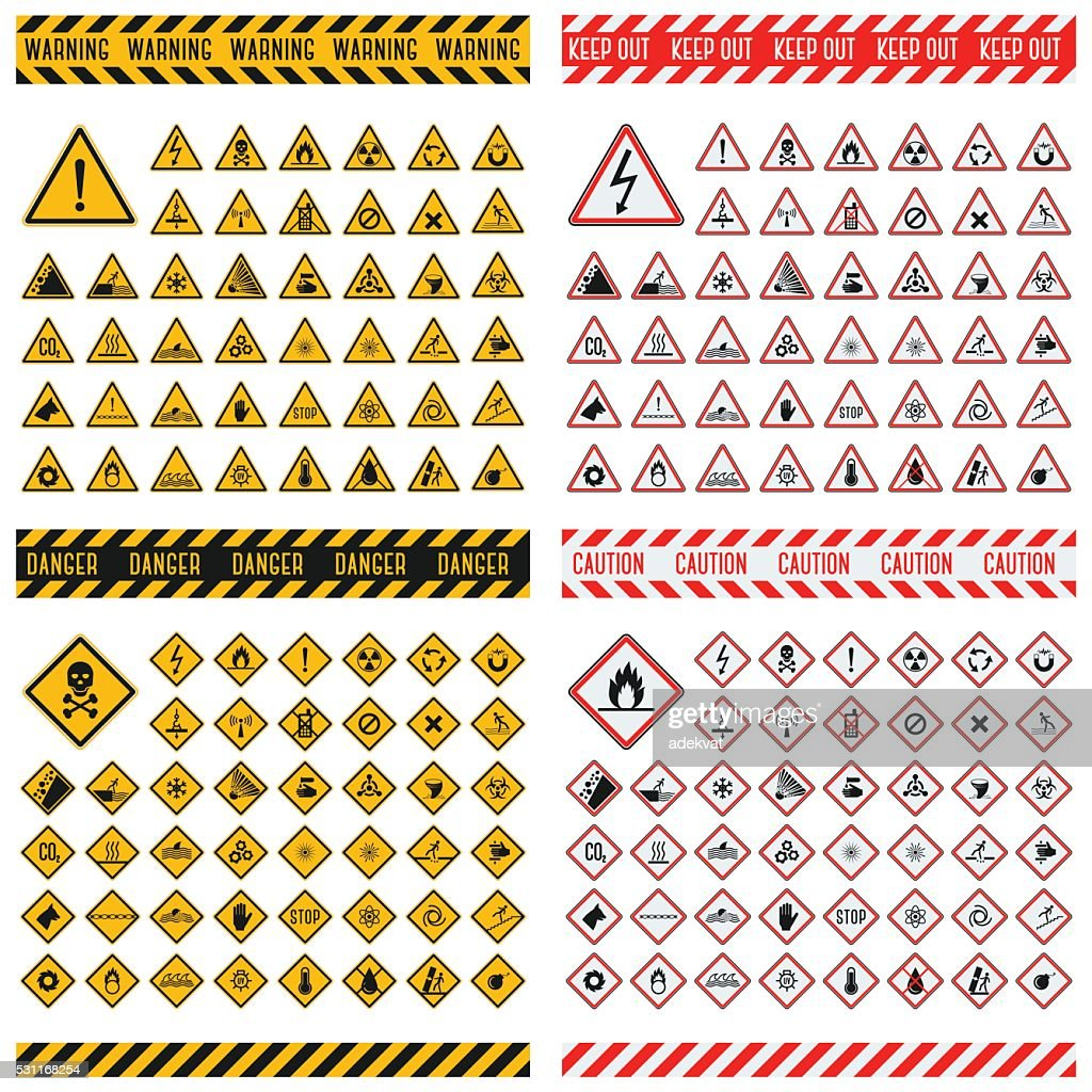Danger sign vector collection