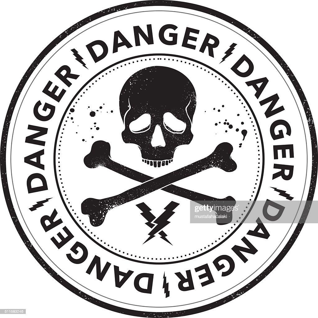 Danger stamp with skull symbol