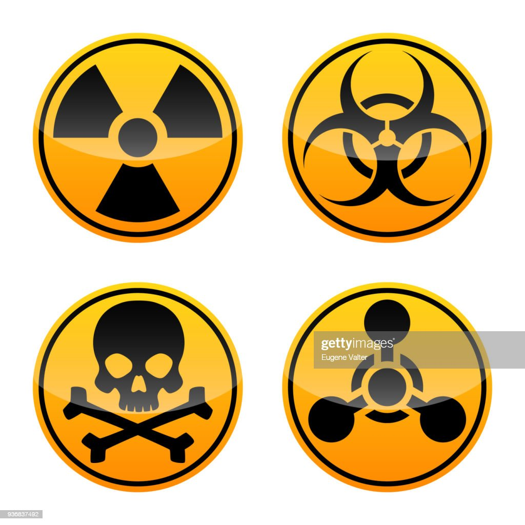 Danger vector sign set. Radiation sign, Biohazard sign, Toxic sign, Chemical Weapons Sign.