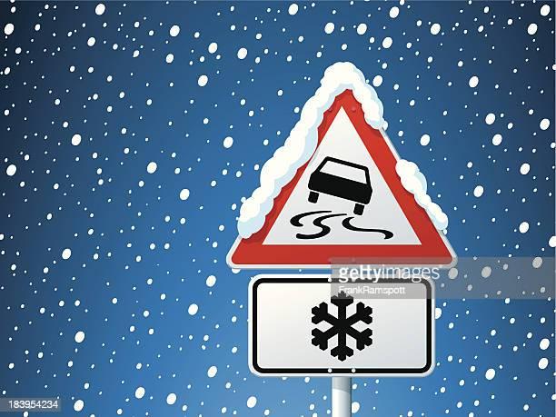 gefährlichen region der gefahr-warnschild winter - verkehrswarnung stock-grafiken, -clipart, -cartoons und -symbole
