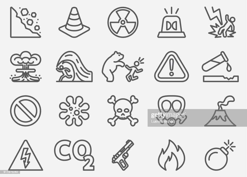 Dangerous Line Icons : stock illustration