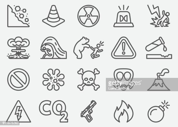 dangerous line icons - radioactive contamination stock illustrations