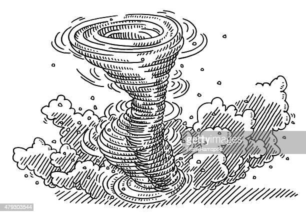 dangerous tornado drawing - cyclone stock illustrations, clip art, cartoons, & icons