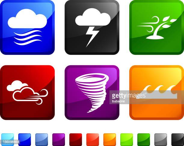 dangerous weather royalty free vector icon set stickers - cyclone stock illustrations, clip art, cartoons, & icons