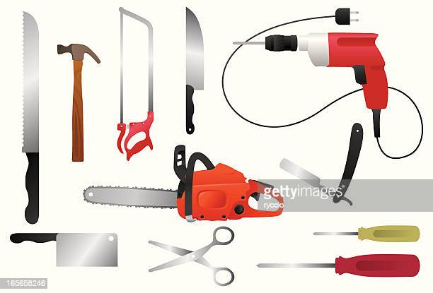 dangerous working tools - power tool stock illustrations, clip art, cartoons, & icons