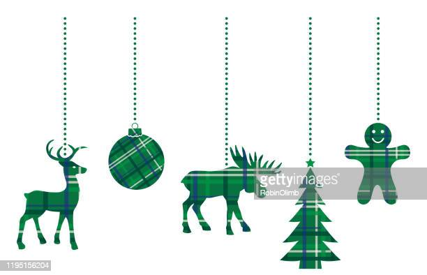 dangling green plaid christmas ornaments - male animal stock illustrations