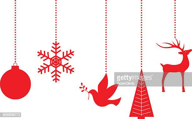 dangling red christmas ornaments - symbols of peace stock illustrations