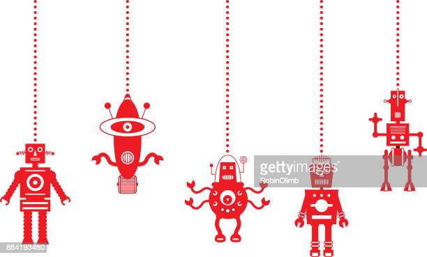 Dangling Red Robot Christmas Ornament