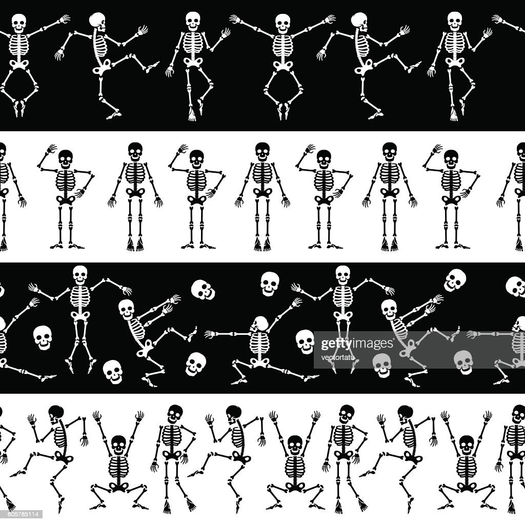 Dansing skeletons horizontal pattern