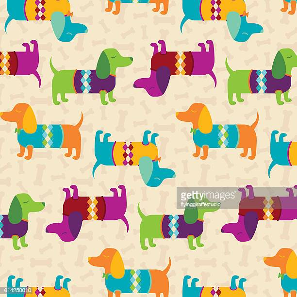 dapper dachshunds pattern - sweater stock illustrations, clip art, cartoons, & icons