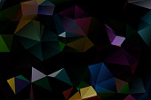 Dark abstract background of multicolored triangles