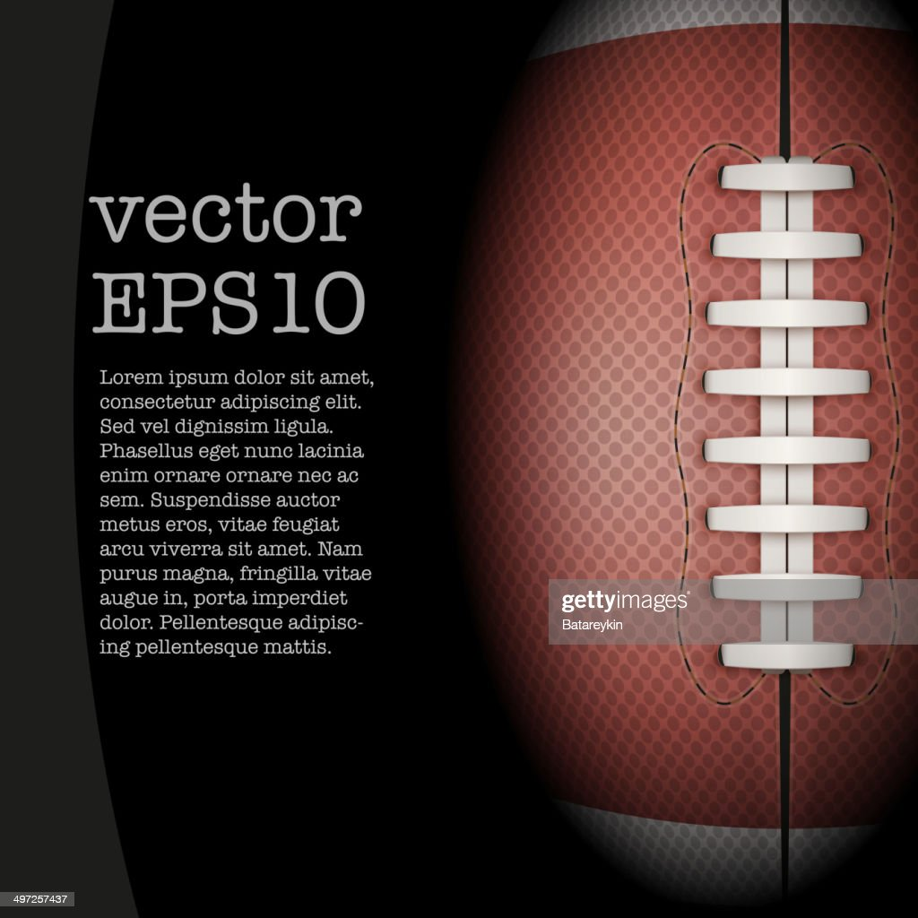 Dark Background of American Football ball. Vector Illustration.