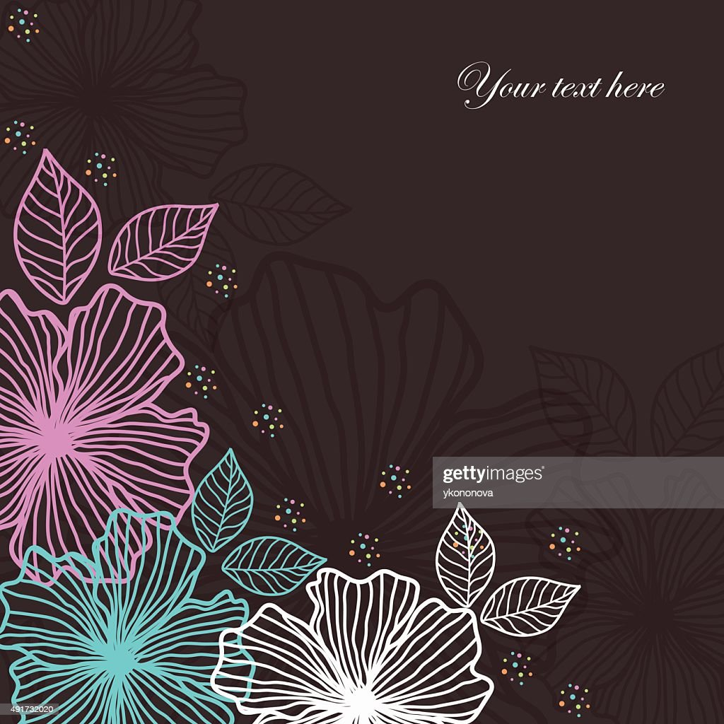 Dark background of colorful flowers