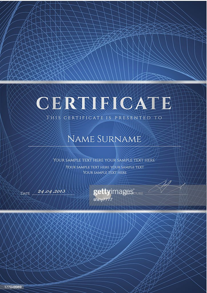 Dark Blue Certificate / Diploma template. Award Background design (guilloche pattern)