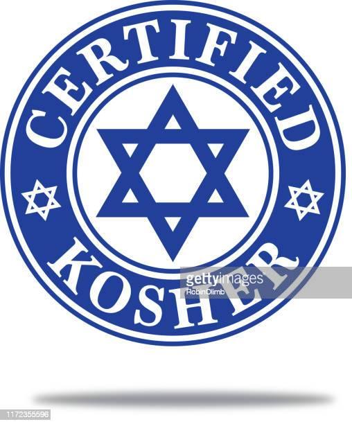 dark blue certified kosher label - religious icon stock illustrations
