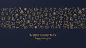 Dark blue Christmas card with golden icons
