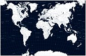 Dark blue color World Map and water objects