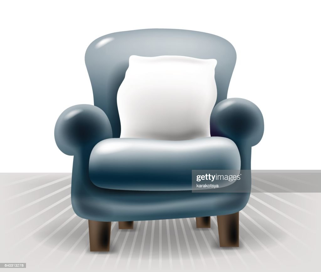 dark blue leather chair with a white pillow in light