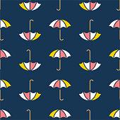 Dark blue multicolored umbrellas pattern
