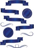 Dark Blue, Navy Ribbons, Labels, Banners, Stickers
