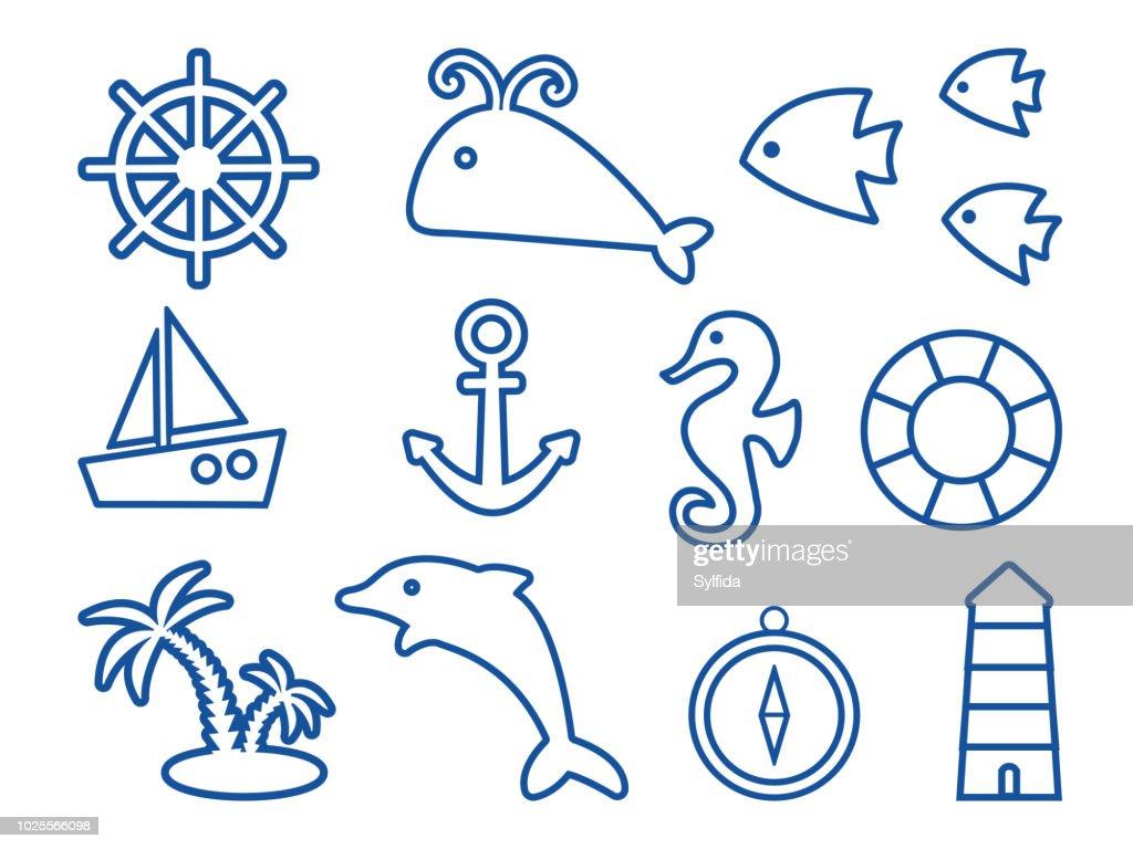 Dark blue set on marine theme, outline design. Vector illustration
