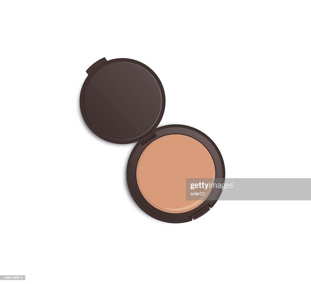 Dark brown powder case opened