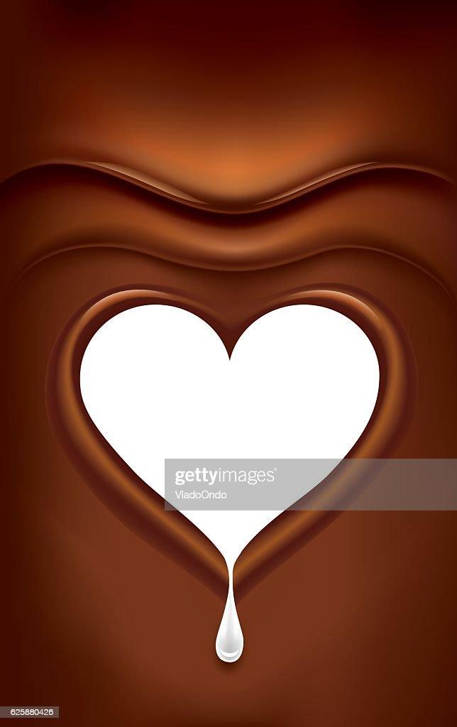 dark chocolate with milk heart background