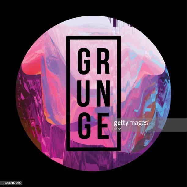 dark circle digital glitch abstract grunge background - synthpop stock illustrations