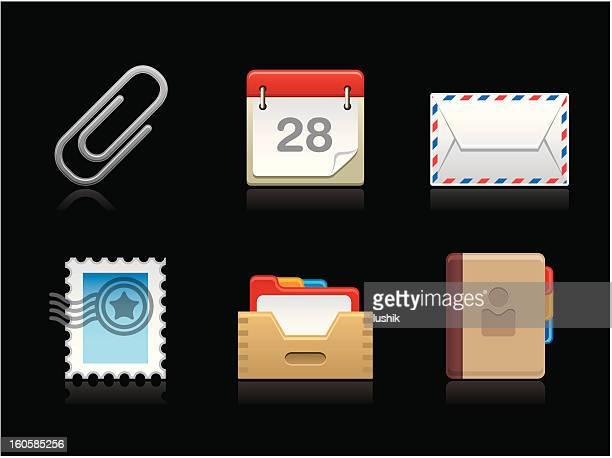 ilustraciones, imágenes clip art, dibujos animados e iconos de stock de colección de correspondencia oscuro - tarjeta de archivo