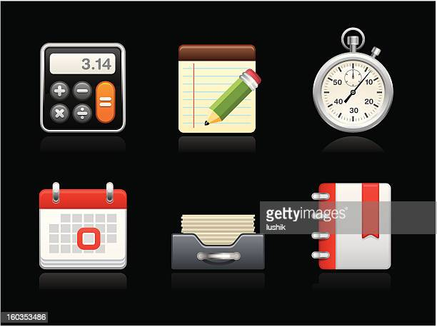 dark collection - savings time - inbox filing tray stock illustrations