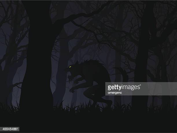 Dark digital illustration of a werewolf in a forest